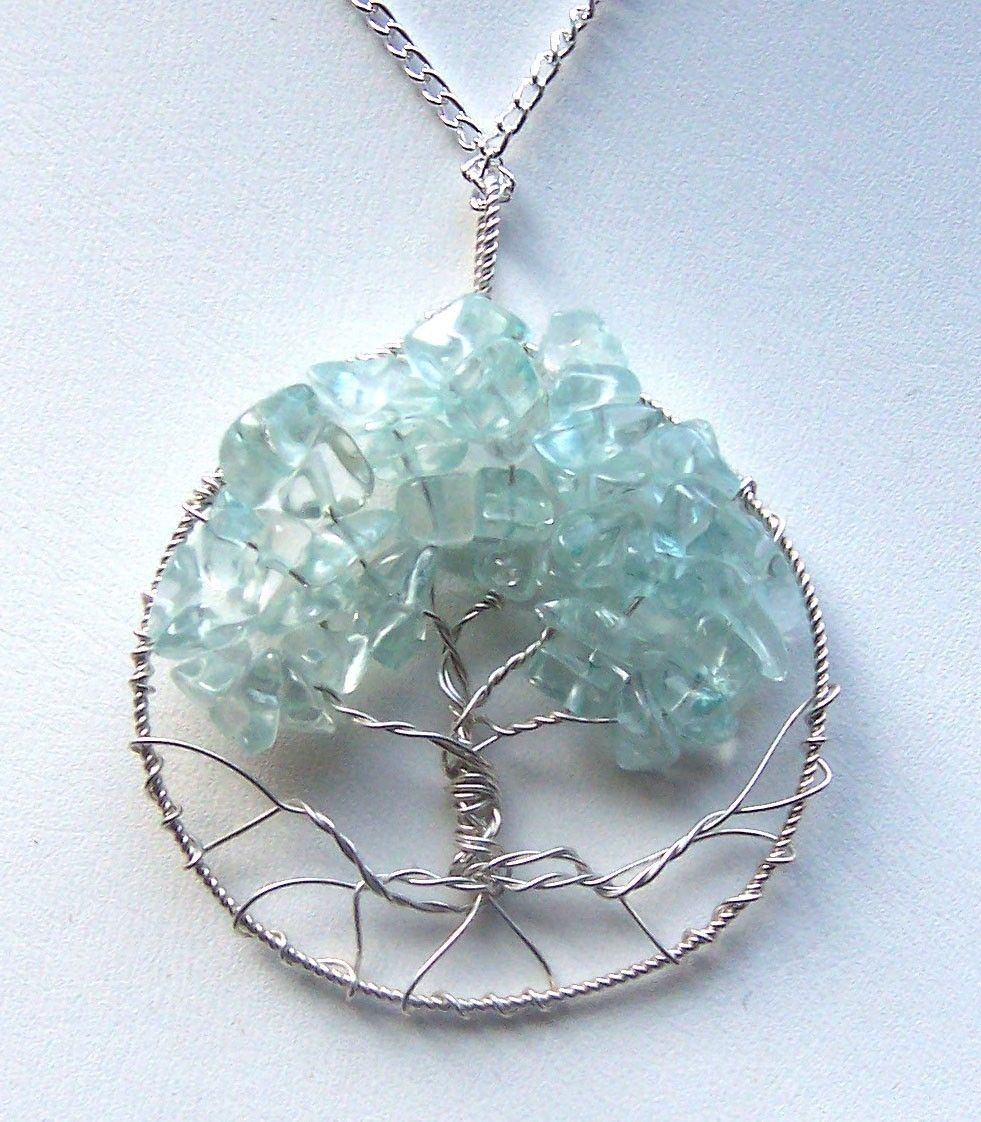 18th Birthday Necklace Sterling Silver Custom Birthstone: Hand Crafted Aquamarine Gemstone And Sterling Silver Tree