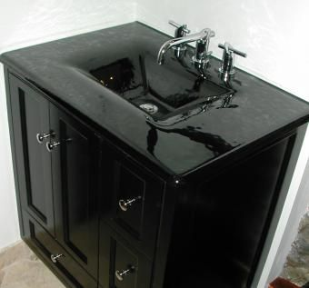 Custom Made Custom Black Lacquer Vanity