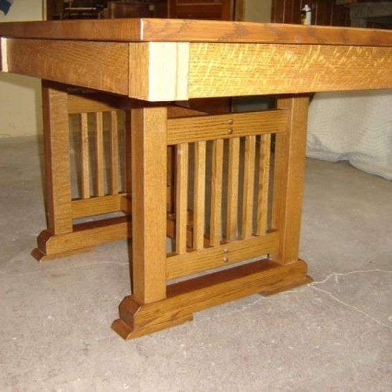 Hand made new solid quarter sawn red oak wood mission for Mission style kitchen table
