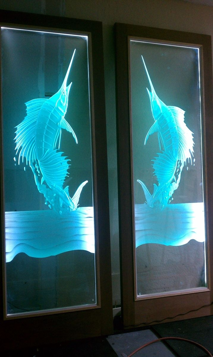 Hand Made Carved Glass Door Inserts With Led Lights By