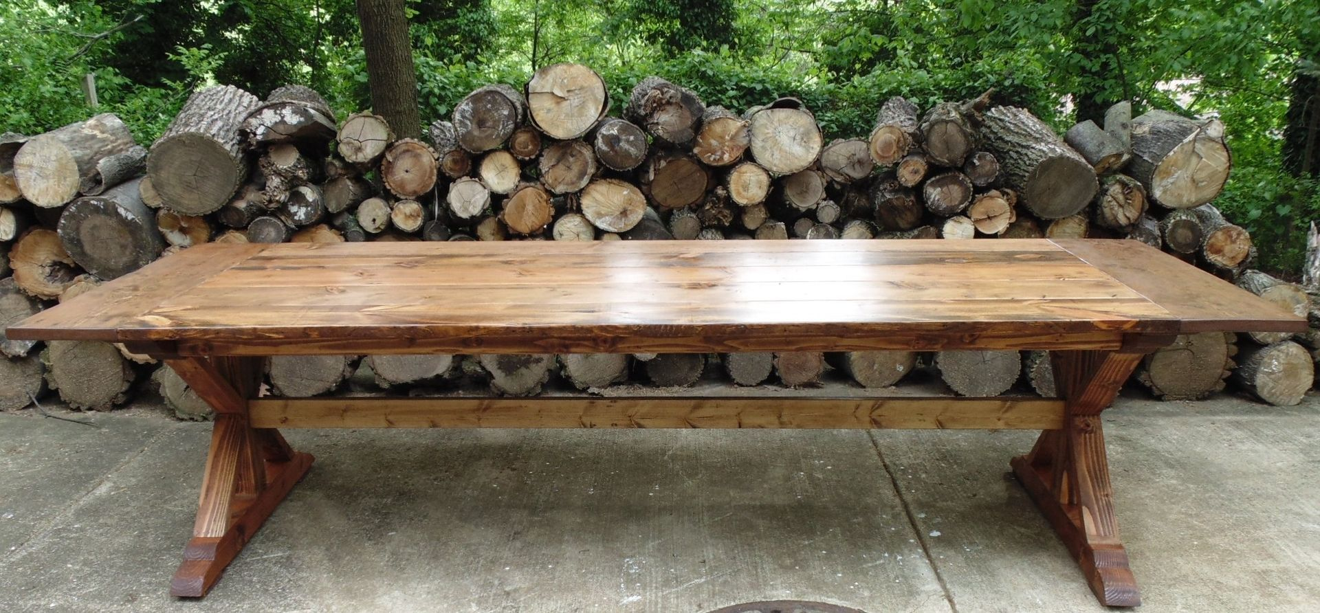 Handmade Reclaimed Wood Trestle X Style Farmhouse Table by  : 87970479441 from www.custommade.com size 1920 x 892 jpeg 341kB
