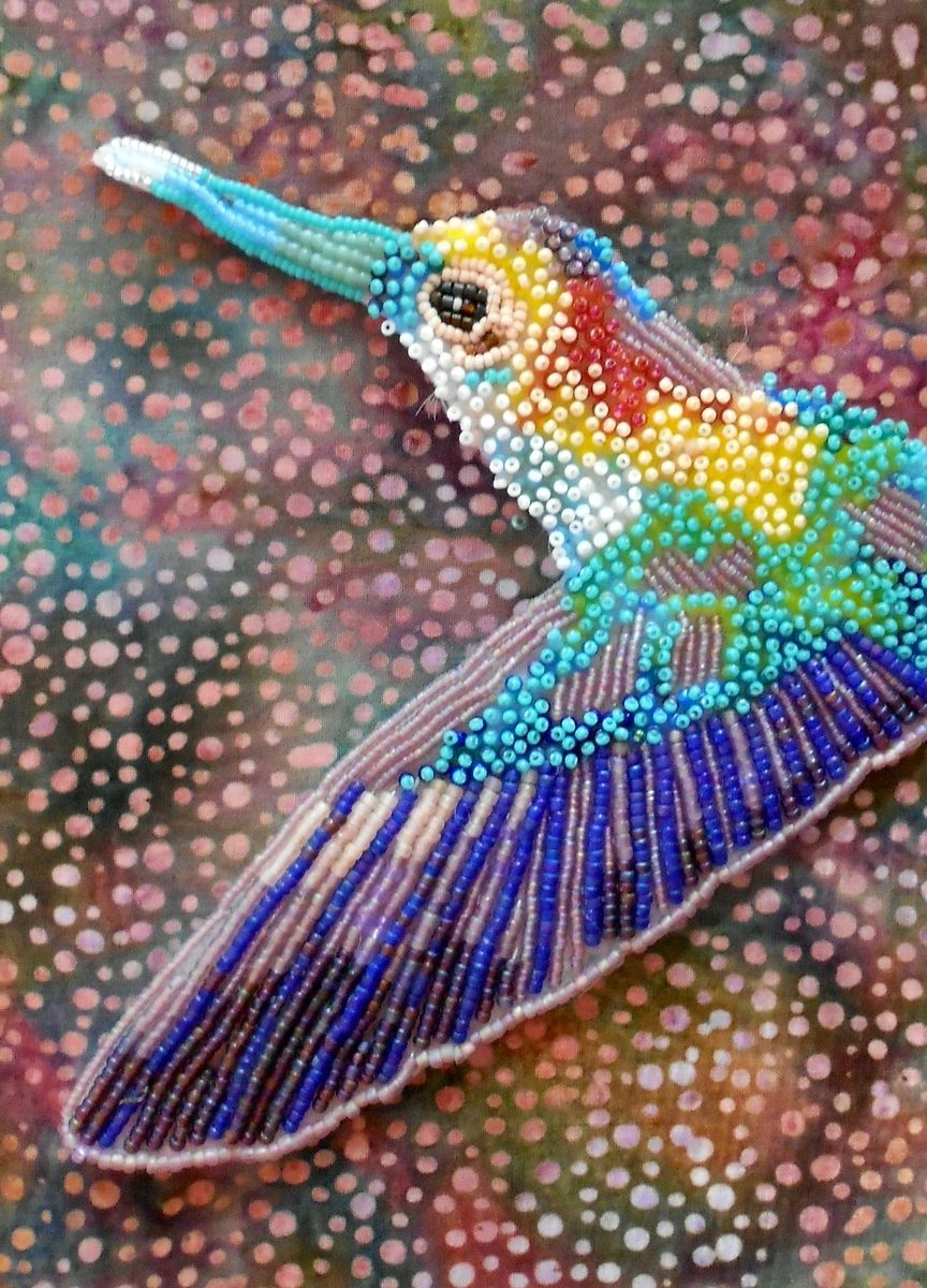 hand made seed bead embroidered hummingbird by contemporary seed bead embroidery by eleanor