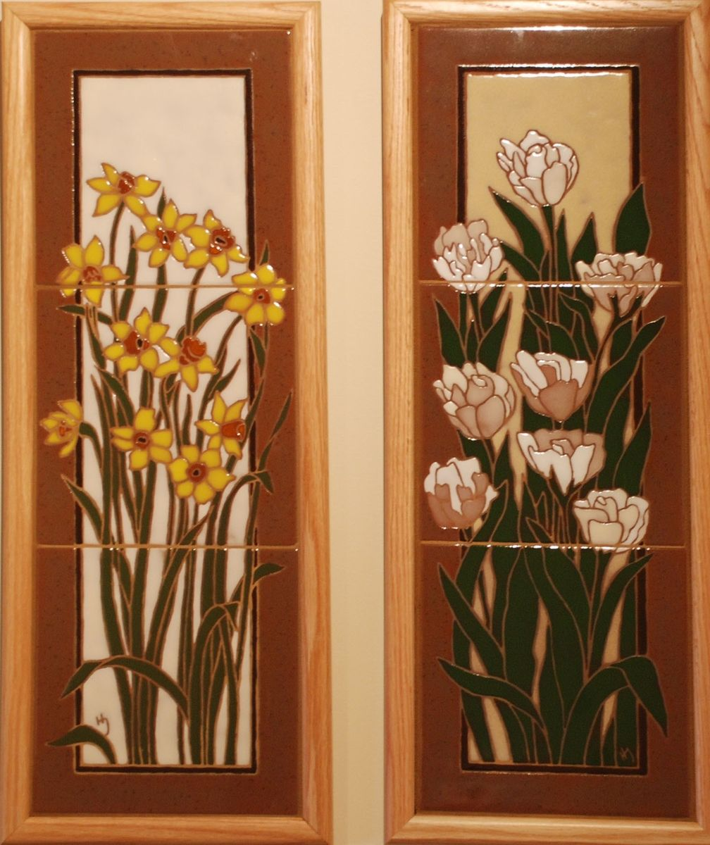 Custom sample three tiles flower murals by hauslejohnson for Custom mural tiles