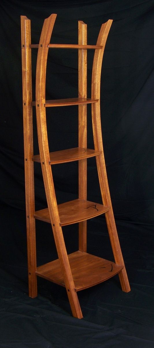 Hand Crafted Asian Influenced Ladder Shelf By Brian Havens