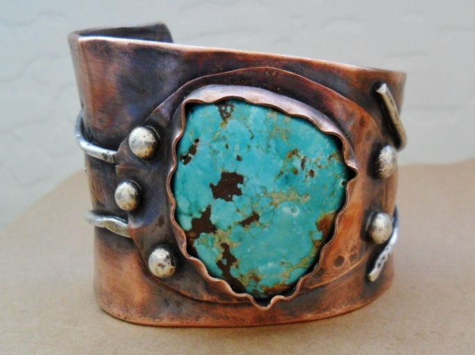 Hand Made Fox Mine Turquoise Copper And Sterling Silver