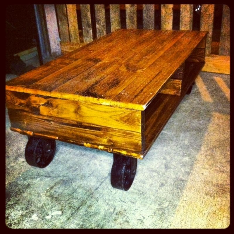 Hand Crafted Industrial Cart Coffee Table With Cast Iron