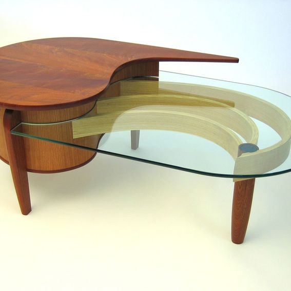 Bespoke Glass Coffee Tables: Hand Crafted Mahogany, Cherry And Glass Coffee Table By