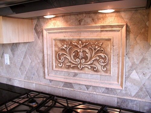 Custom made kitchen backsplash using a floral tile by - Decorative tile for backsplash in kitchens ...