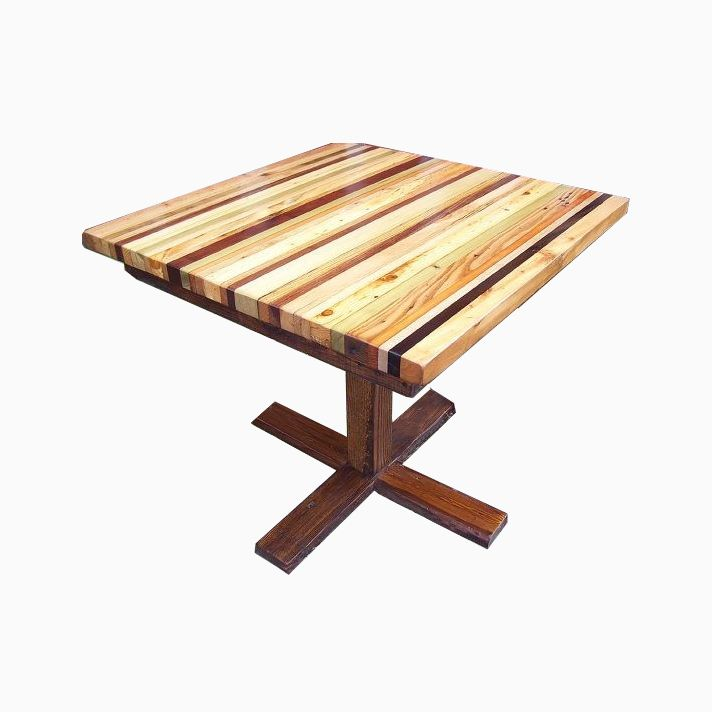 Butcher Block Wood Kitchen Table : Buy a Hand Made Butcher Block Kitchen Table With Reclaimed Wood Pedestal Base, made to order ...