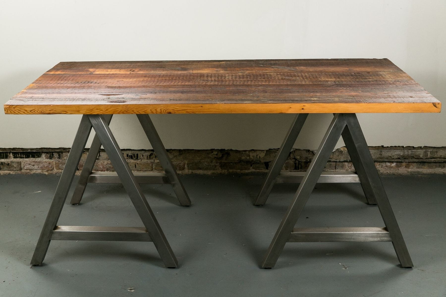 Handmade harvest work surface by buchs urban rebuilds Sawhorse desk legs