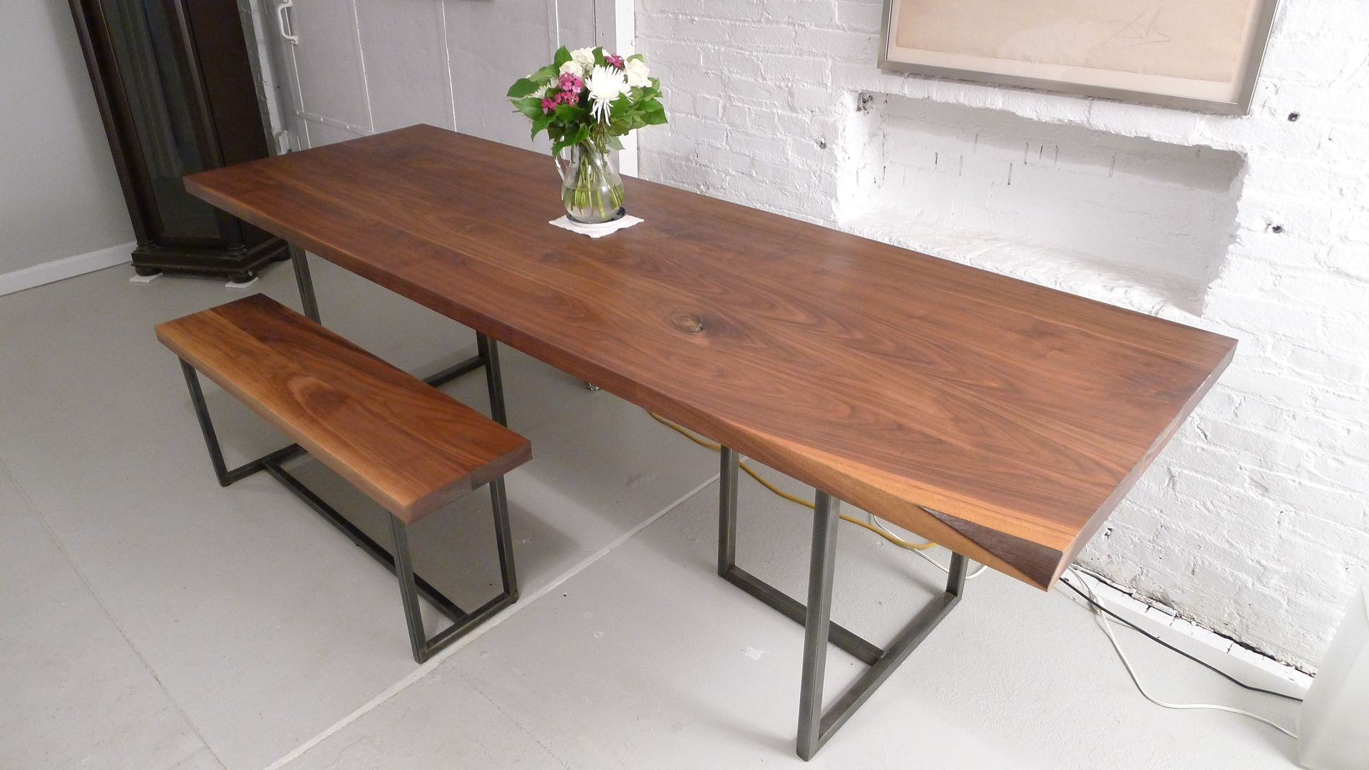 Handmade Walnut Dining Table By Harvest Home Steel
