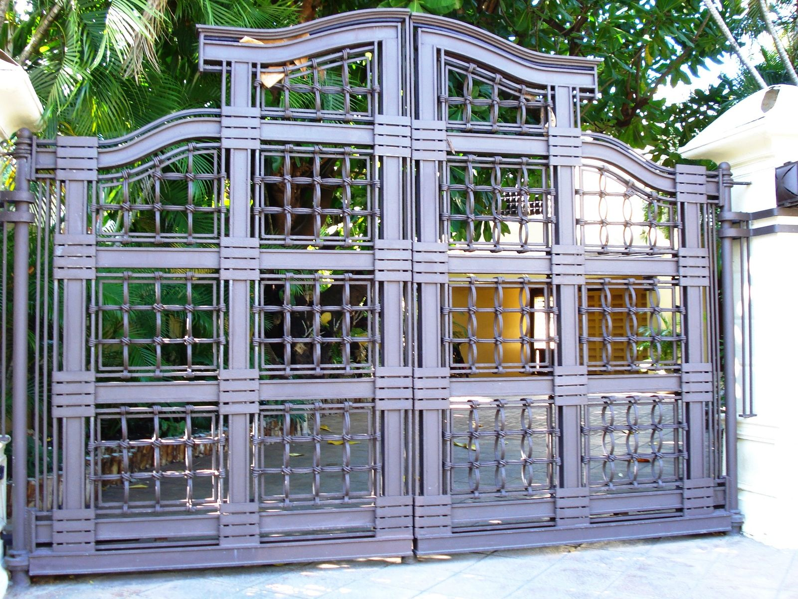 Hand Made Custom Designed Wrought Iron Double Swing Gate By Deco Design Center