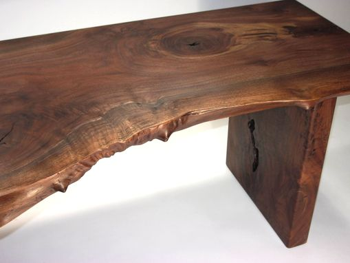 Custom Made Modern Bench, Walnut, Live Edge