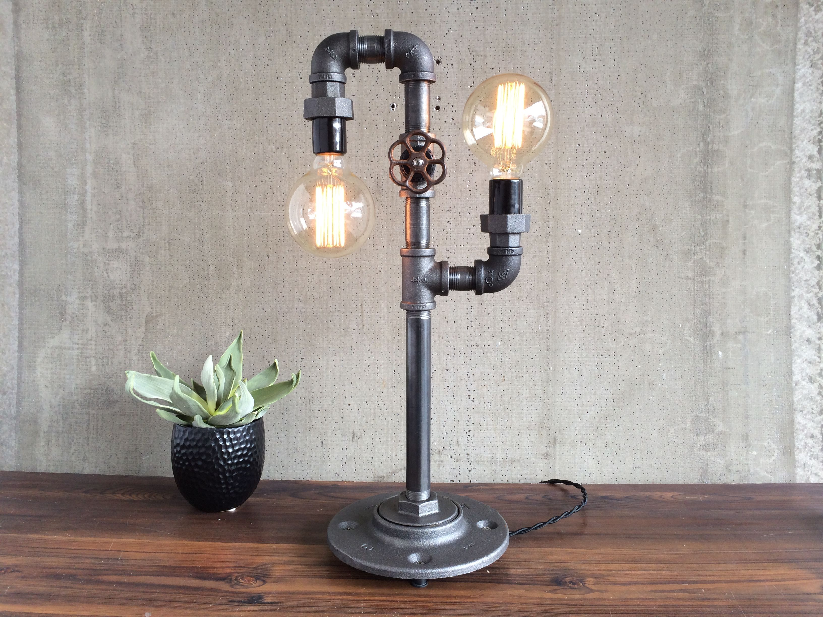 buy a hand crafted industrial edison bulb light iron pipe table lamp made to order from. Black Bedroom Furniture Sets. Home Design Ideas