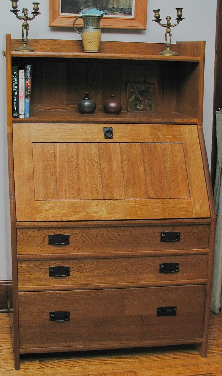 Hand Crafted Arts Amp Crafts Fall Front Secretary Desk By