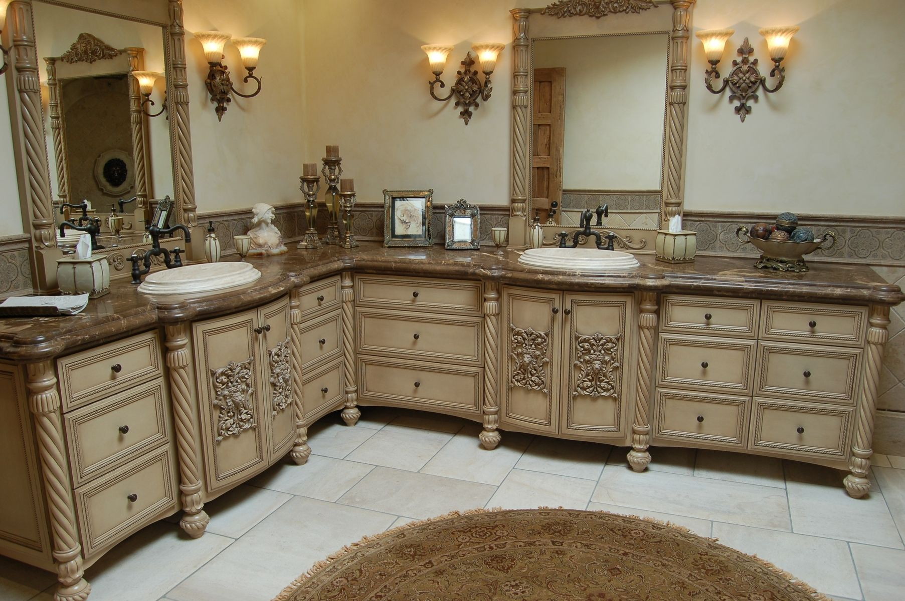handmade custom faux finish master bathroom cabinets by