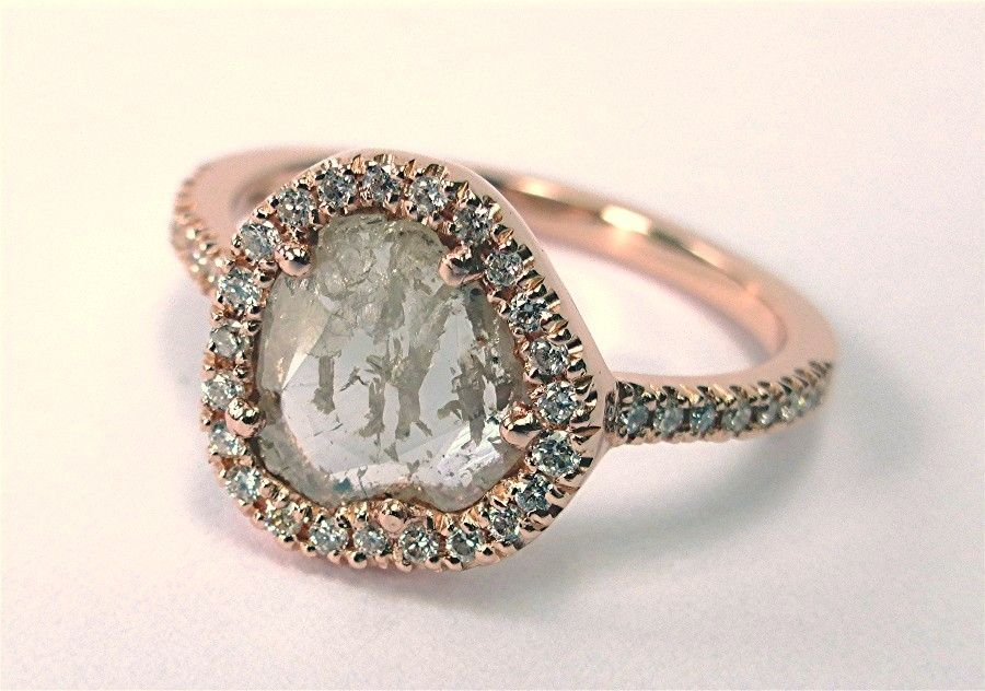 Hand Made Diamond Slice Halo Rose Gold Engagement Ring By