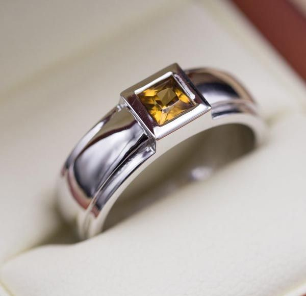 Benjamin S Wedding Band Features A Custom Cut Yellow Zircon Bezel Set In 14k White Gold