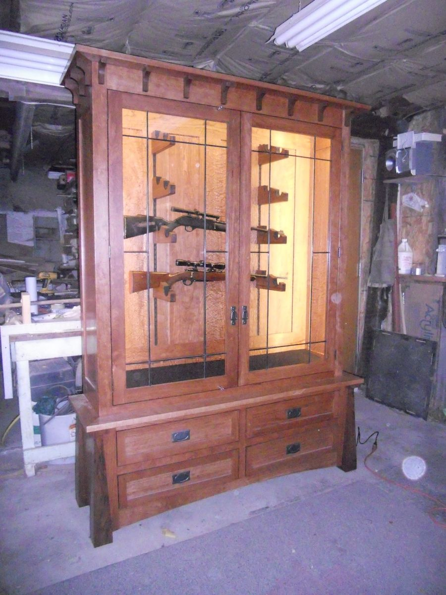 Hand Made Horizontal Display Civil War Gun Cabinet By