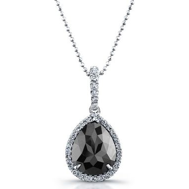 Custom Made White Gold Pear Shaped Black Diamond Necklace