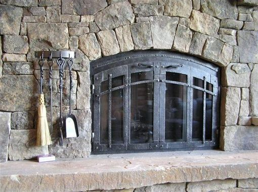 Hand Crafted Custom Fireplace Screen With Bifold Doors By Ironhaus