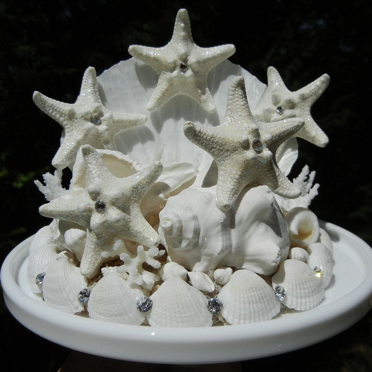 hand crafted sea constellation seashell starfish wedding cake topper by shellscapes. Black Bedroom Furniture Sets. Home Design Ideas