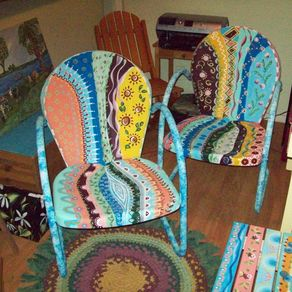 Hand Crafted Multi Colored Wood Fan Chairs By