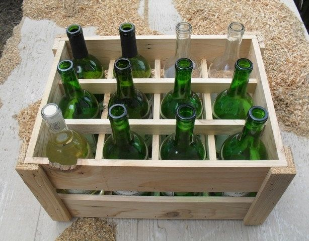 Custom made small space pantry wine rack crate handmade for Small wine crates