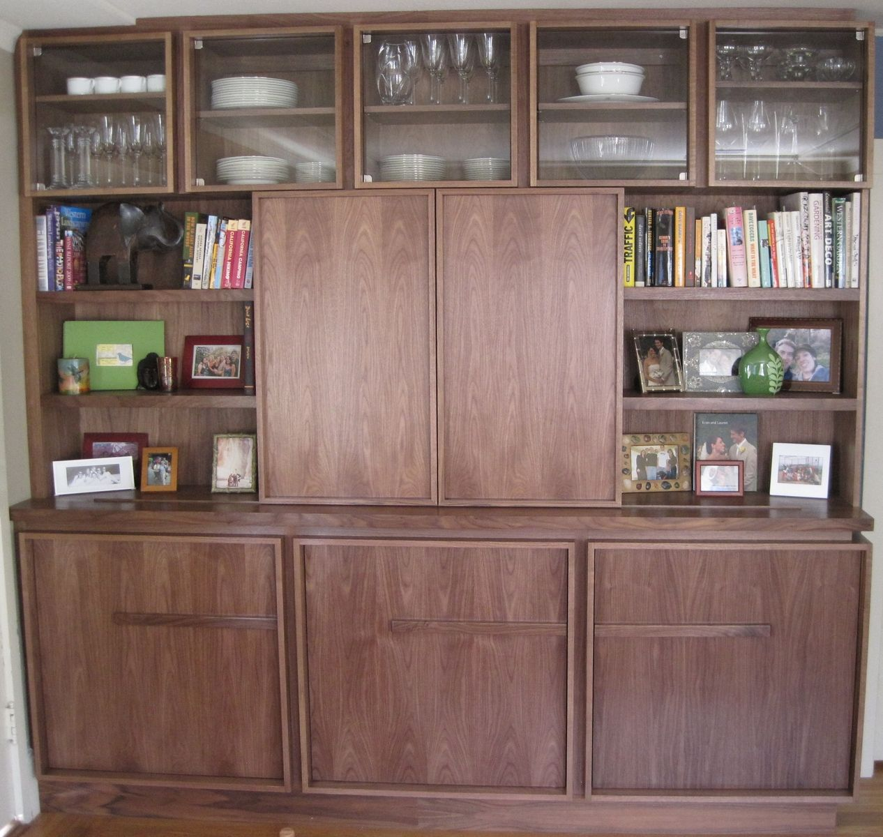 Hand Made Modern Walnut Bookcase With Tv And Storage By