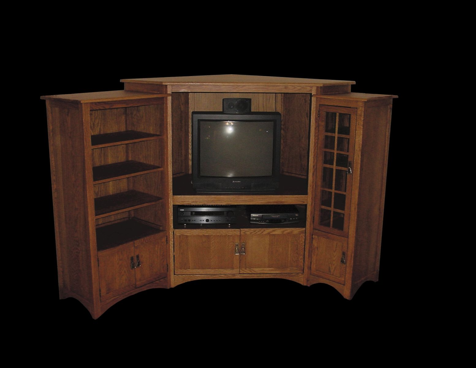 handmade custom corner entertainment center by braun furniture. Black Bedroom Furniture Sets. Home Design Ideas