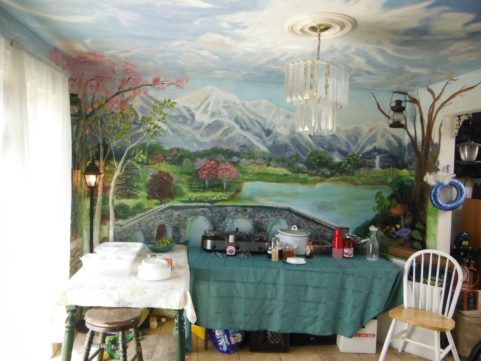 Hand made kitchen dining room mural floor to ceiling by for Mural restaurant