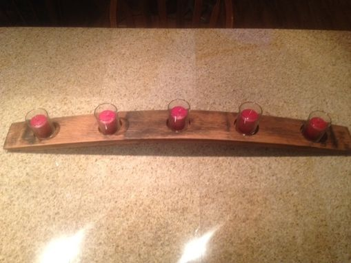 Hand Crafted Wine Barrel Stave Candle Holder By Wyld At