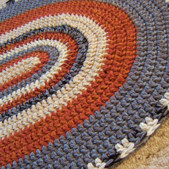 Crochet Kitchen Rugs: Hand Made Oval Crochet Rug Custom Made To Order 28 X 45