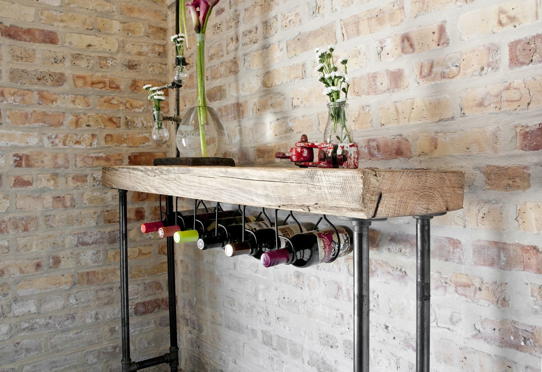 Hand crafted modern rustic wine bar or console table by for Custom wine bar