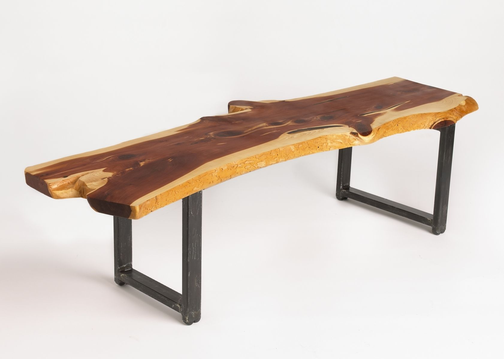 Custom live edge cedar coffee table by russ connell metal works Live wood coffee table