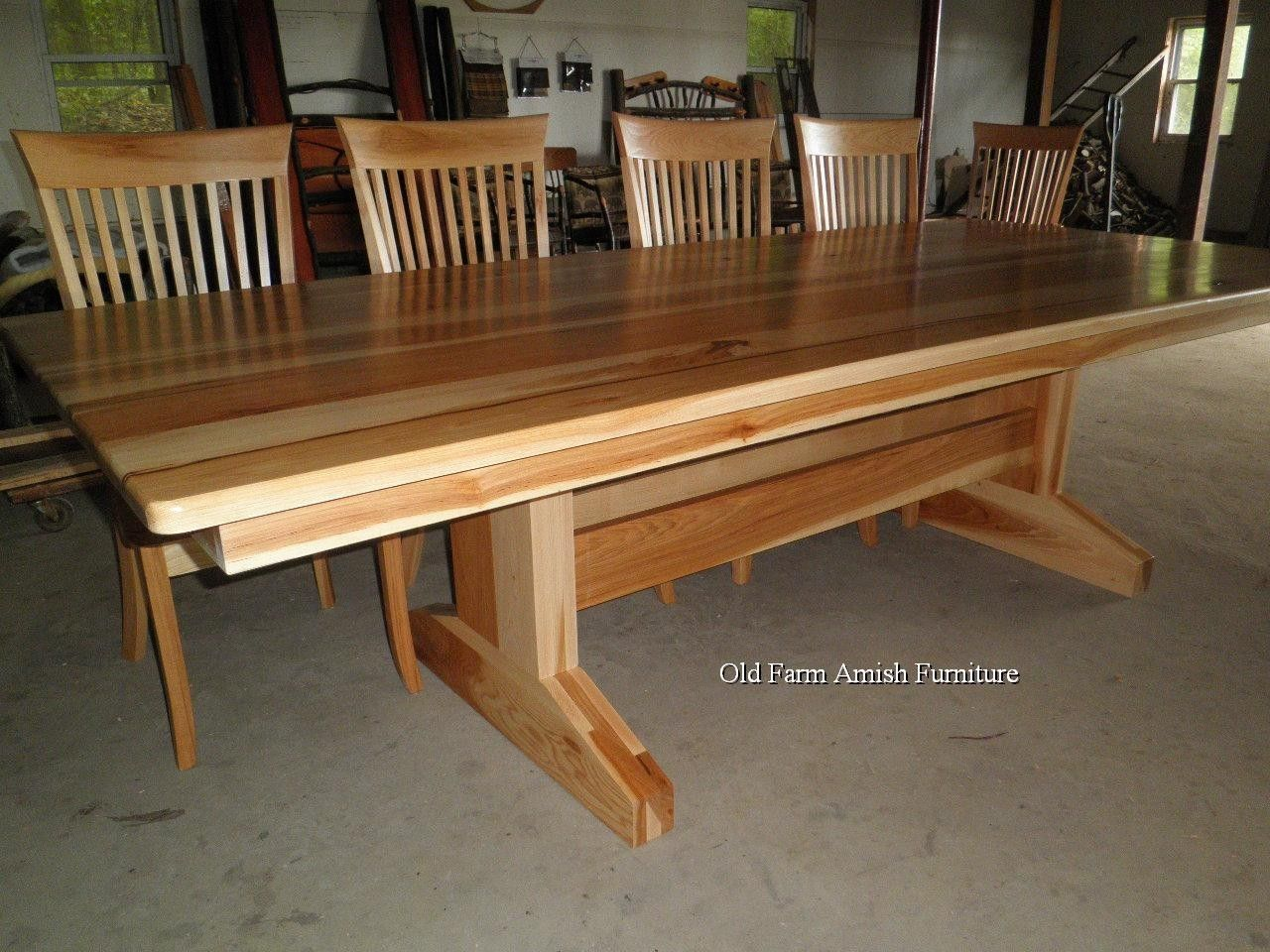 Custom dining room table chairs by old farm amish for Dining room tables handmade
