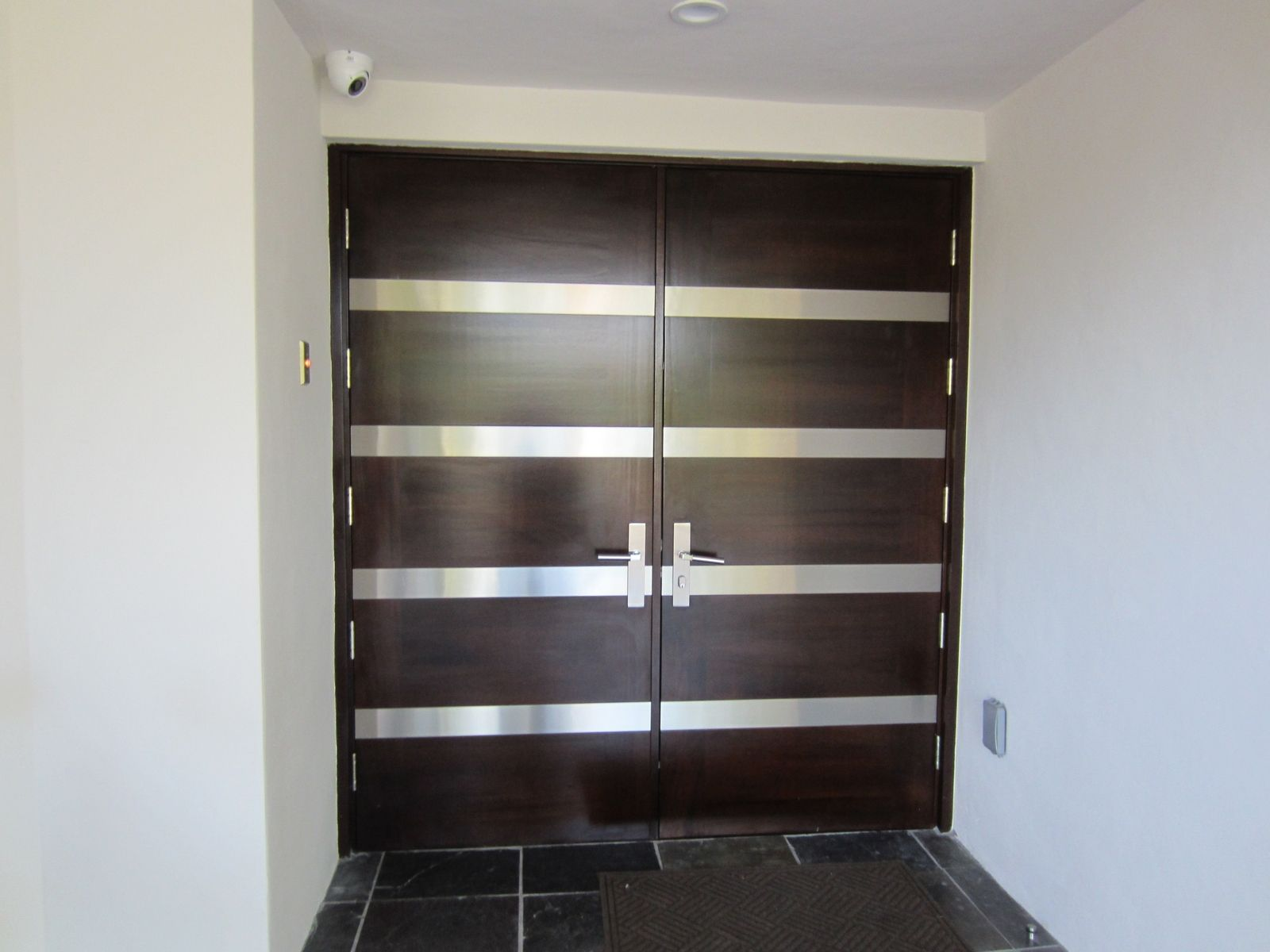 Hand Crafted Contemporary Entry Doors With Stainless Steel