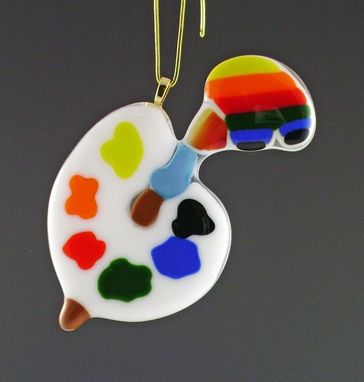 Custom Made Fused Glass Artist Palette Ornament