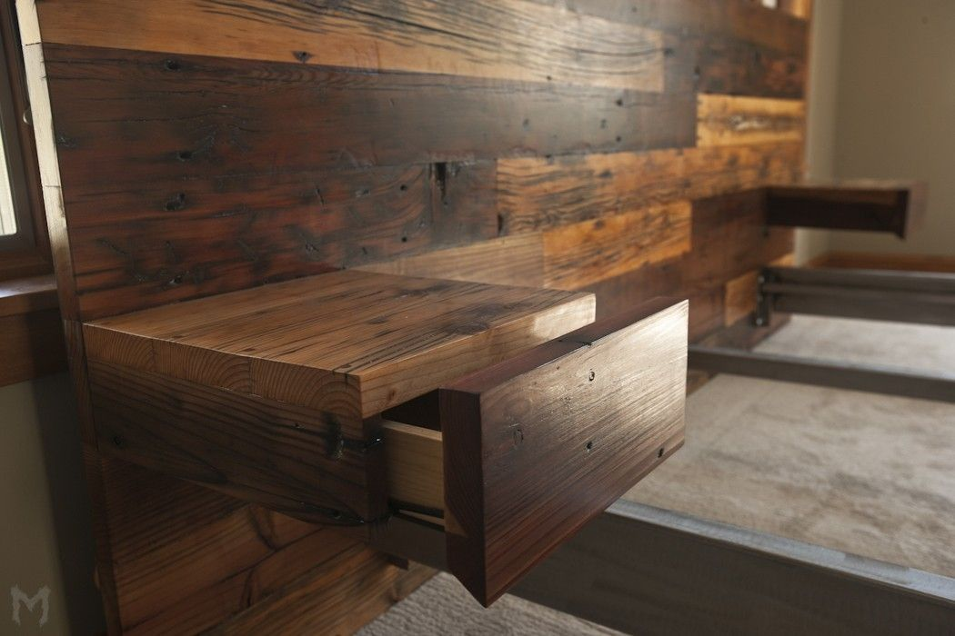 Custom Reclaimed King Platform Bed Amp Floating End Tables By Mez Works Custommade Com