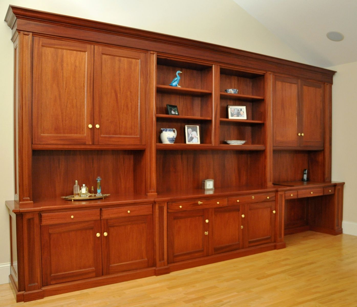 Mahogany Home Library Office: Hand Made Traditional Mahogany Wall Unit /Home Office Desk