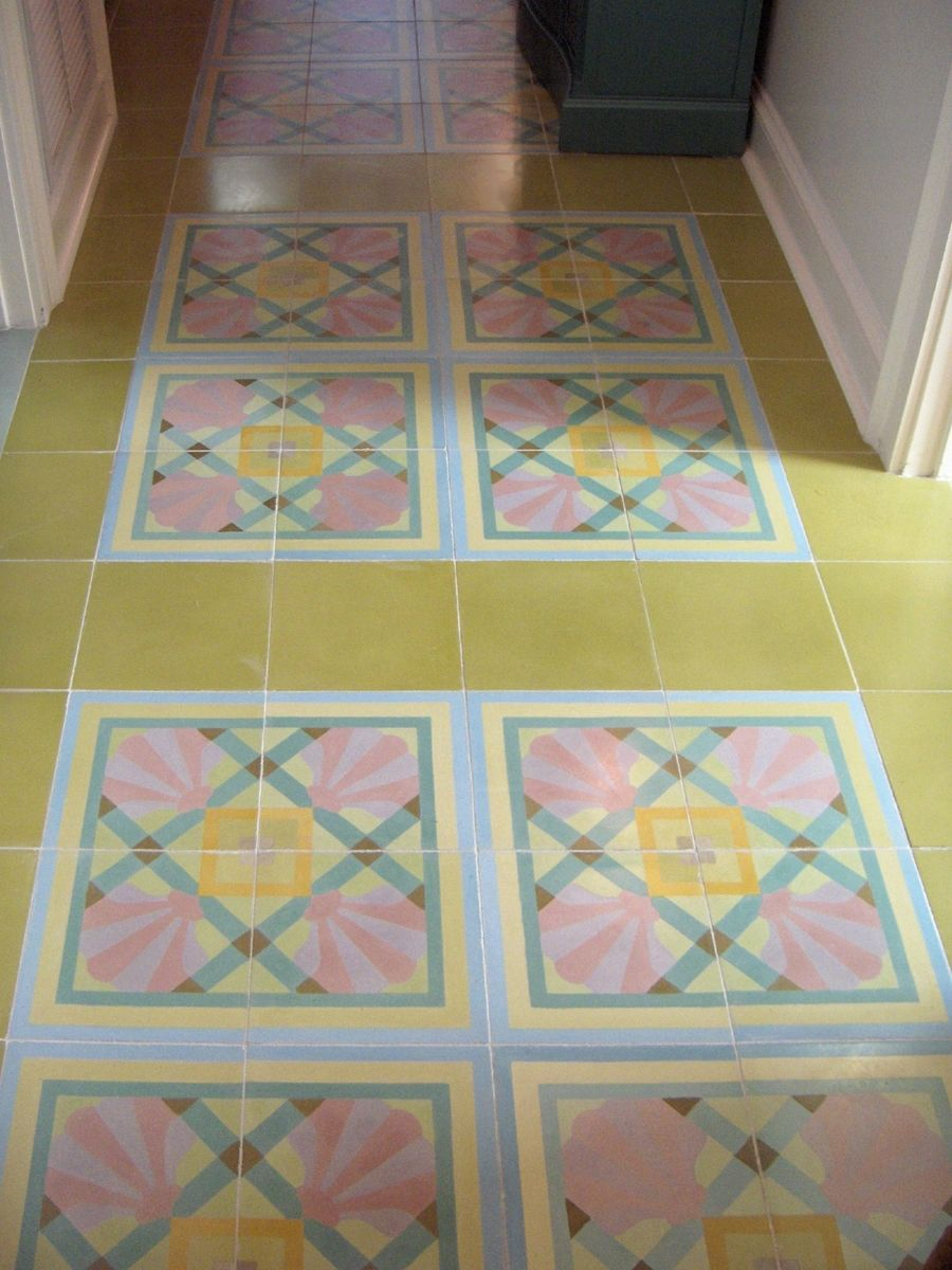 Hand made custom cement tiles in a hallway by villa lagoon for Handmade cement tiles