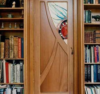 Custom made cherry and stained glass pocket doors by for Pocket front door