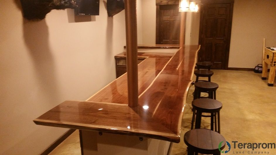 Custom Made Built In Two Tier Live Edge Walnut Bar By