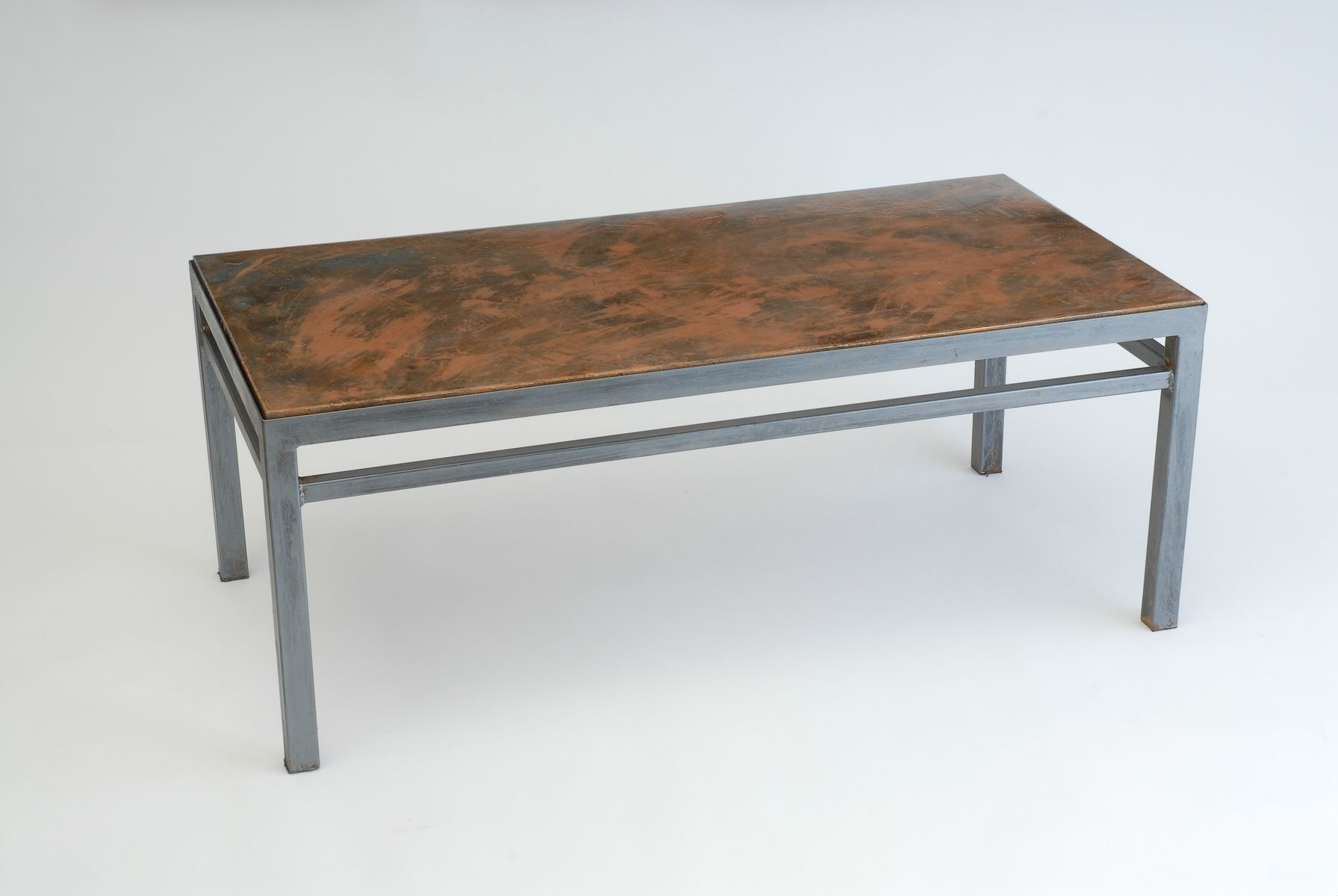 Hand Crafted Coffee Table Composite Top Steel Base By Aggie Design Company
