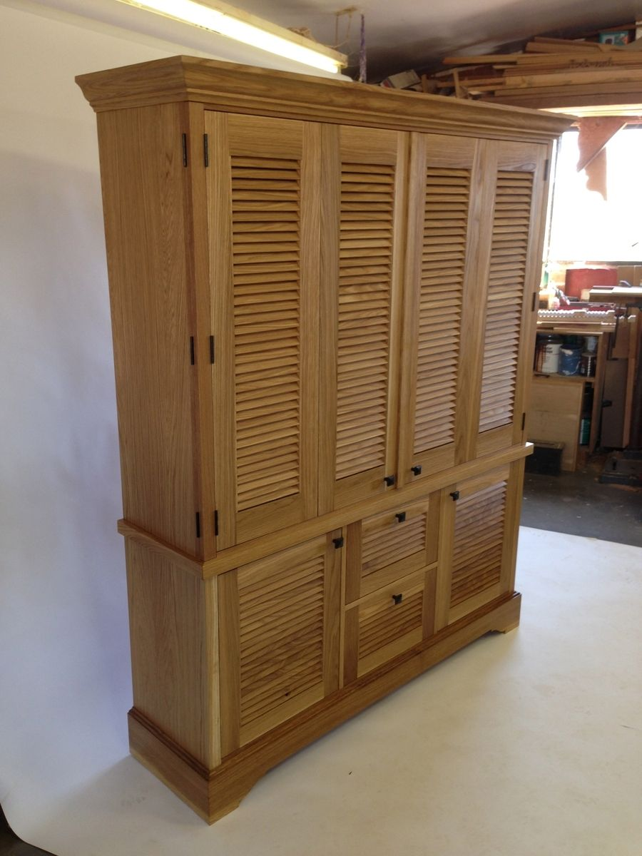 Hand Crafted Media Cabinet With Louver Doors By John