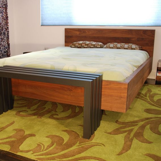 Custom made solid walnut platform bed hand crafted from for Furniture of america hilande rustic farmhouse dark walnut bed