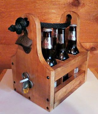 Buy A Hand Made Rustic Wood Beer Caddy With Bottle Opener