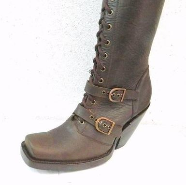 Custom Made Thigh 34 Inches Tall Boots Square Toe, Zipper And Shoe Laces 4 Inch Heels Custom
