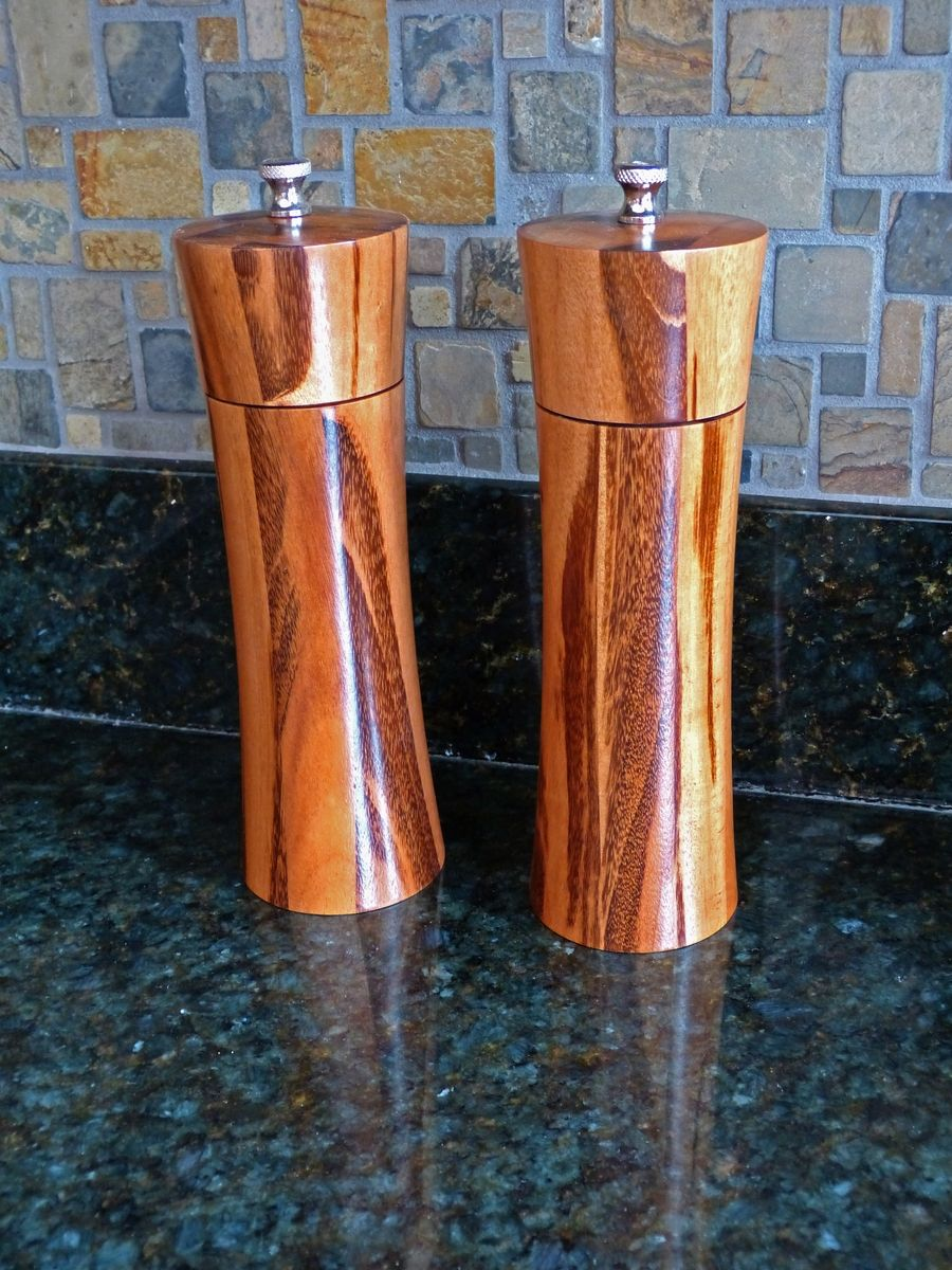 Hand Crafted Salt And Pepper Mills By Carolina Wood
