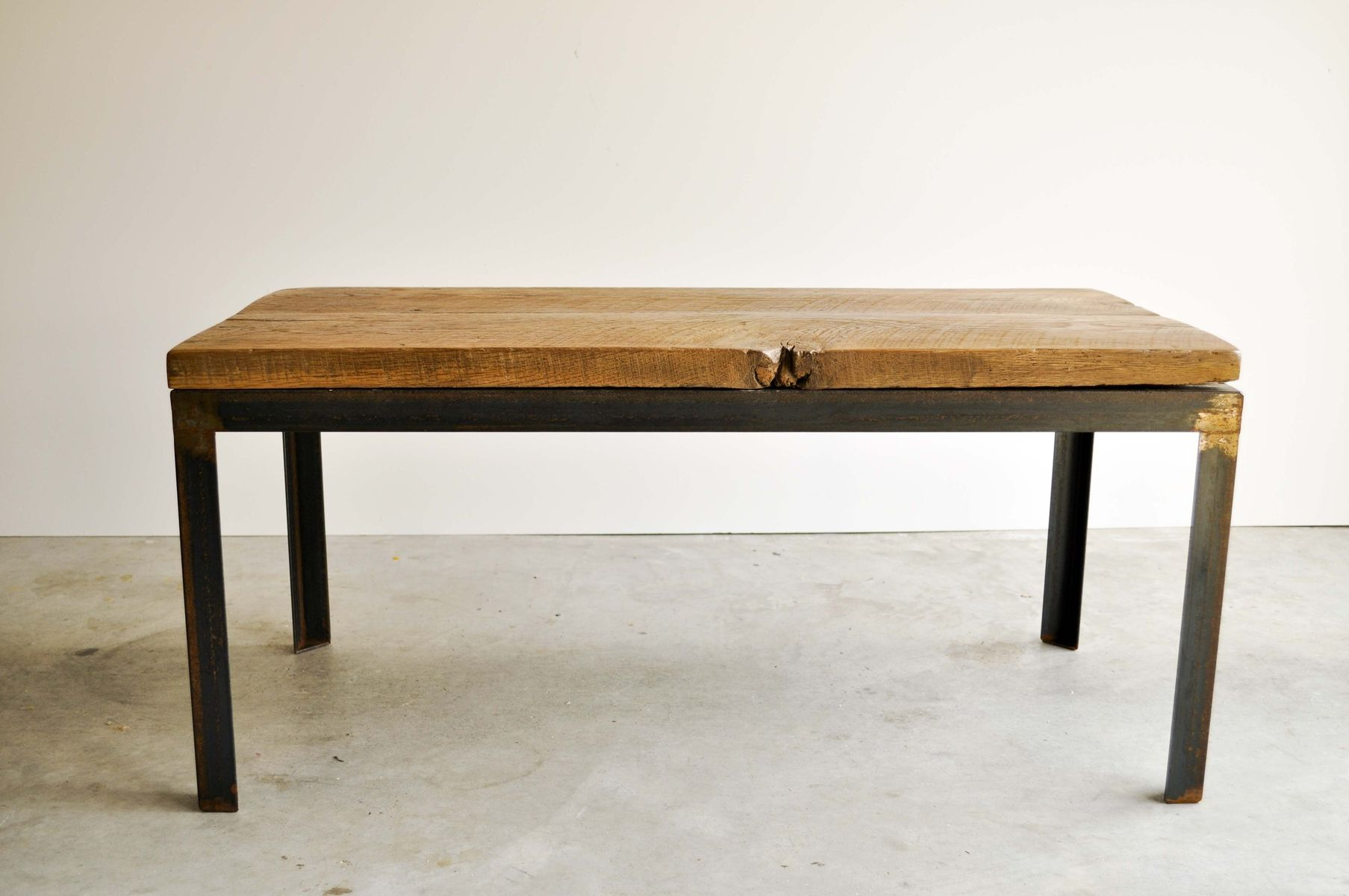 Hand Crafted Aged Metal And Reclaimed Barn Wood Coffee Table The Adrian By Dohler Designs